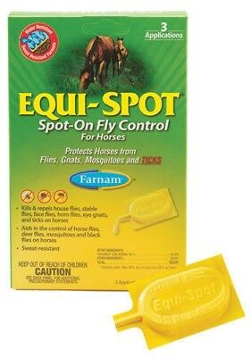Equi-Spot Spot-On Fly & Tick Control for Horse Equine Kills & Repel Insect 3pack