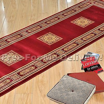 CAEN CLASSIC RED MEDALLION TRADITIONAL FLOOR RUG RUNNER 80x300cm **FREE DELIVERY