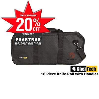 New Cheftech Chef Knife Roll Bag Fits 18 Pieces Black With Handles