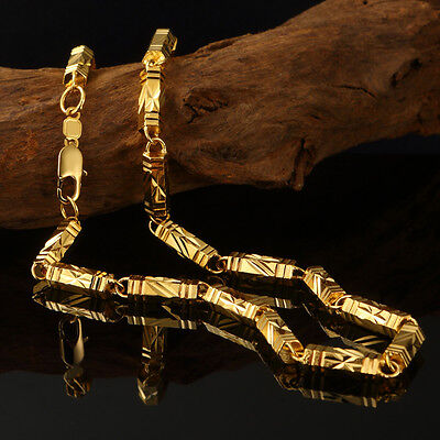 XXL Solid Gold Necklace Mens Chain 24K Yellow Gold Filled 60cm Jewelry Gift