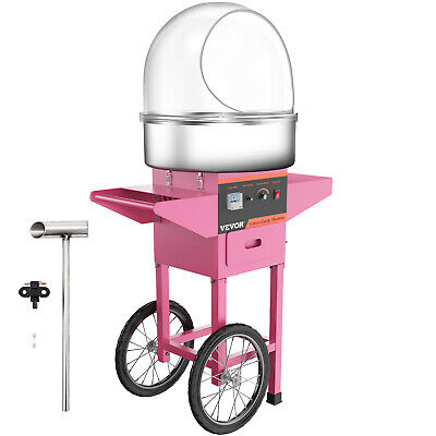 Candy Floss Making Machine Cotton Candy Maker W/Cover Cart Party Cooking Snacks