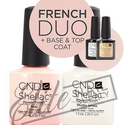 CND SHELLAC UV Color Coat 7.3ml - French Duo + Base +Top + FREE CND SolarOil