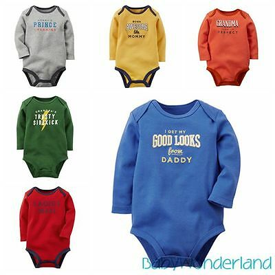 Baby Boys Embroidere Long Sleeves Cotton One Piece Jumpsuit Romper Size 0-2Years