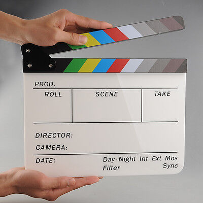 Colorful Clapperboard Acrylic Movie Film Action Slate Clapper Board Handmade