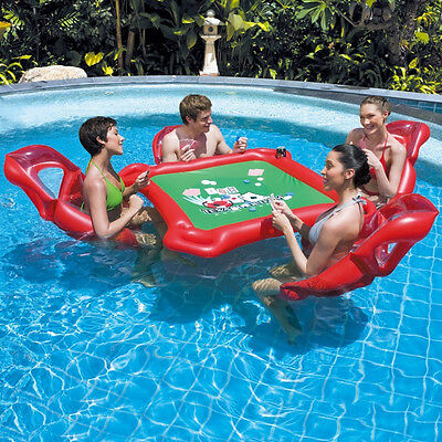 New 4 Player Poker Table Water Floating Swimming Pool  Casino Texas Holdem Table