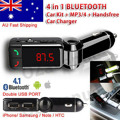 LCD Bluetooth Car Set FM Transmitter MP3 USB Charger Handsfree For iPhone 8 7 6