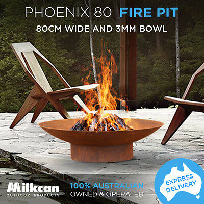 Phoenix 80cm Rust NEW 3mm Bowl Fire Pit Outdoor Fireplace Patio Heater Plant