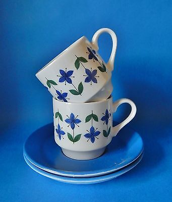 Two Midwinter Roselle Coffee Cxups & Saucers