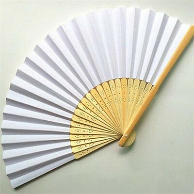 FD4244 White Chinese Folding Bamboo Fan Retro Hand Paper Fans Wedding Decor♫