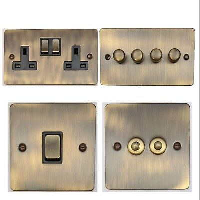Flat Plate Antique Bronze FAB3 Light Switches, Plug Sockets, Dimmers, Cooker, TV