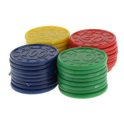32 Plastic Poker Chips Professional Casino Cards Game- Red Green Blue Yellow
