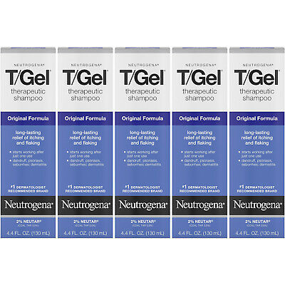 5 Pack - Neutrogena T/Gel Therapeutic Shampoo Original Formula 4.40oz Each