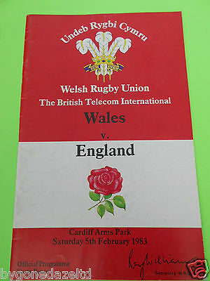 Wales v England - February 1983 Rugby Programme