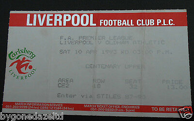 Liverpool v Oldham Athletic 10th April 1993 Football Ticket