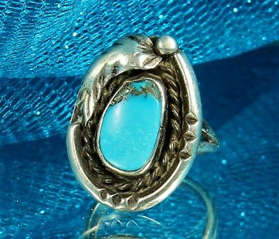 Vtg Sterling NAVAJO MORENCI TURQUOISE (Rare) Ring with Iron Pyrite~Sz 6~OLD PAWN
