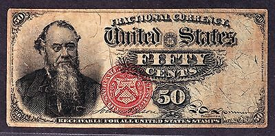 """US 50c """"Stanton"""" 4th Issue Fractional Currency  1376 F-VF (005)"""
