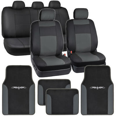Synthetic Leather Car Seat Covers + Carpet Floor Mats - Black/Charcoal Gray