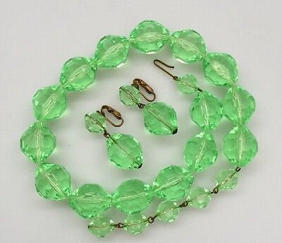 Vintage West Germany Green Plastic Necklace And Clip On Earrings