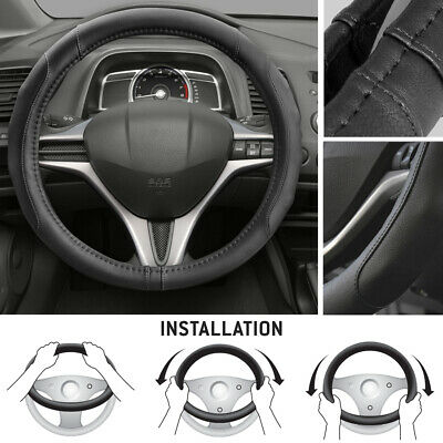 Synth Leather Car Steering Wheel Cover Comfort Grip Black Stitching Standard