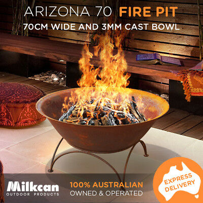 70cm Arizona Rust Thick Bowl Outdoor Fire Pit Heater Water Bowl