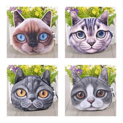 3D Face Animal Cute Wallet Zipper Card Coin Money Purse Pouch Girls Polyester