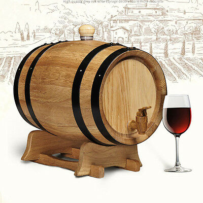 Oak Wine Barrel 3L Red Wine Whisky Rum Wine Brewing Timber Keg with stand