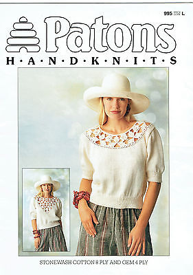 PATONS 995 ~ COTTON KNITS for WOMEN with Crochet Detail in 8ply & 4ply