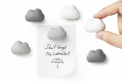Qualy Cloud Shaped Fridge Magnets Set of 6 White and Grey Note Holder