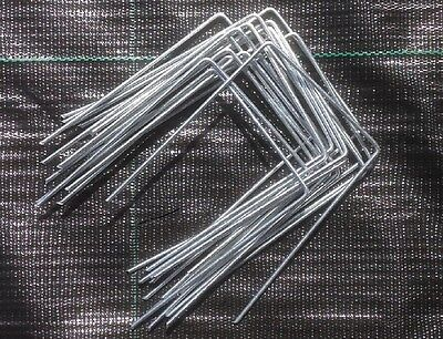 500 x GALVANIZED METAL GROUND COVER PEGS MEMBRANE FABRIC STAPLE / PINS