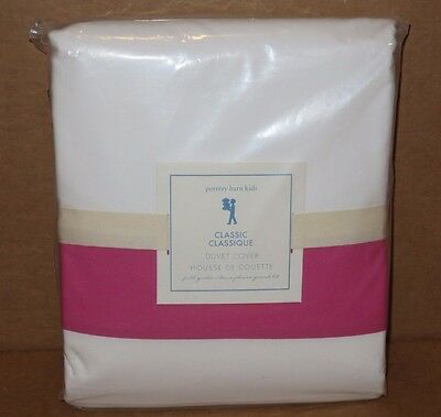 NWT Pottery Barn Kids Girls Classic Duvet Cover, FQ Full/Queen, Bright Pink, NEW