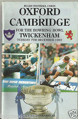 OXFORD v CAMBRIDGE 7th December 1993 Rugby Programme