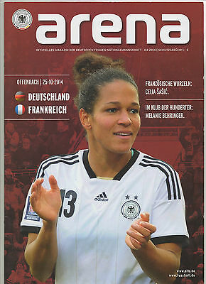 Orig.PRG  Woman`s match  25.10.2014   GERMANY - FRANCE  !!  RARE
