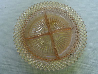 "Vintage Hocking ""Miss America"" Pink Depression Glass 4-Section Relish Tray"