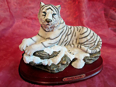 Classic Wildlife white tiger figurine with wood base made of heavy solid resin