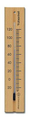 Analog Wall Thermometer Fahrenheit Beech Wood Natural Finish 7.1 inch