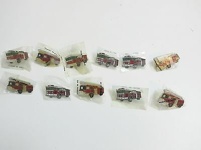 Lot Of 11 Vintage 1980's Era Fire Truck Pins / New In Bags Buttons