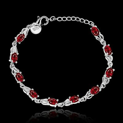 925 Silver Ruby Chain Bracelet Women Fashion Jewelry Valentine's Day Gift