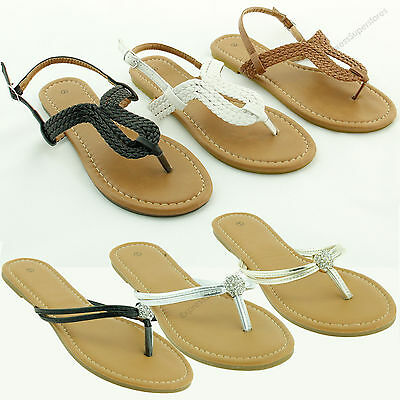 6fc283134a5a85 Women s New Gladiator Flat Braided Sandals T-strap Flip Flops Thong Shoe  Size