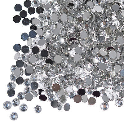 1000 Clear Crystal Flat Back Rhinestones Gems Diamante Nail Art Crafts 1.5 - 6mm