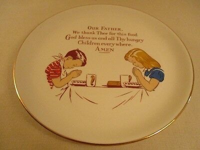 Vintage Christian Collectible Plate - A Boy and A Girl in Prayer 22K Gold Rimmed