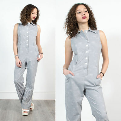 Vintage 90's 70's Style Floral Bell Bottom Jumpsuit Romper Flares Grey Cute 14