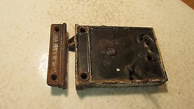 Antique R E Co. Cast Iron  Rim Lock & Key No. 25