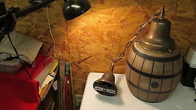 Antique Glass Barrel Light Globe & Brass Fixture Bar Soda Fountain - Rare