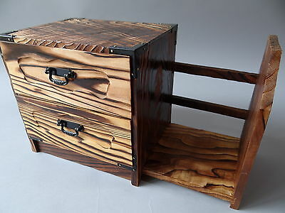 Japanese 2 Drawer and Bookend Wood Box, Small Chest / Yakisugi(Burned cedar)