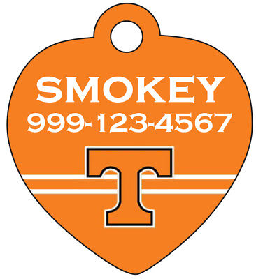 Tennessee Volunteers Pet Id Tag for Dogs & Cats Personalized w/ Name & Number