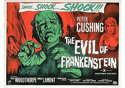 The Evil of Frankenstein - Peter Cushing - Hammer - A4 Laminated Mini Poster