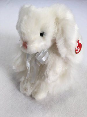 NWT Ty Classic Cashmere Plush Bunny Rabbit Angora Fluffy Long Hair Blue Ribbon