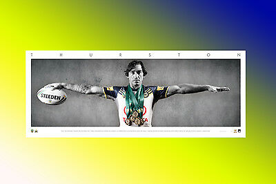 Nrl Official North Qld Cowboys Johnathan Thurston Unsigned Unframed Wings Print