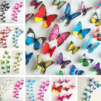 12PC DIY PVC 3D Butterfly Wall Decals Stickers Home Decor Room Vinyl Art Decals
