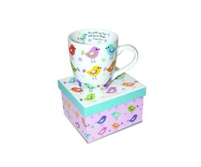Divinity Patterned Birds Ceramic Coffee Mug with Gift Box PSALM 103:5 12 Oz NEW